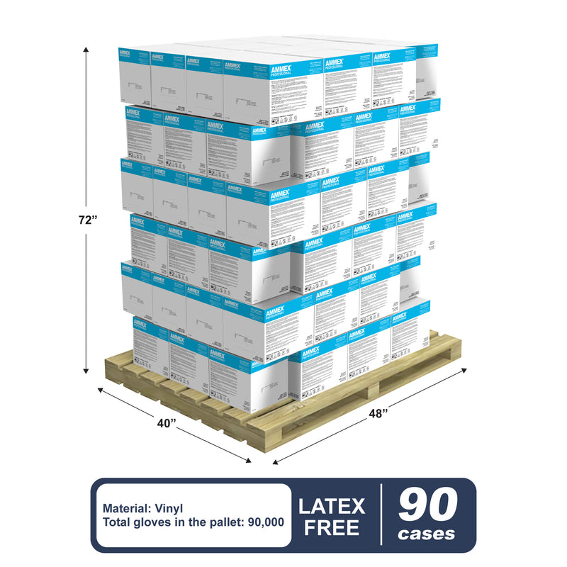 Stack of 90 Cases of VPF Clear Vinyl 3 Mil Exam Gloves on a Pallet with Pallet Dimensions and Specs