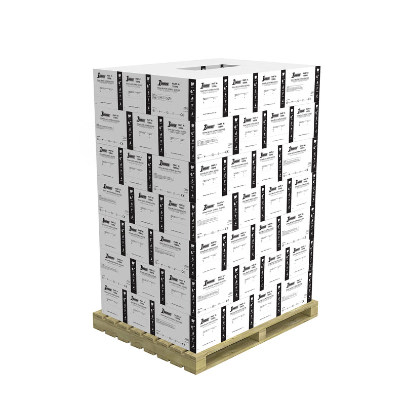 Stack of 70 Cases of 1EBN Black Nitrile 3 Mil Exam Gloves on a Pallet