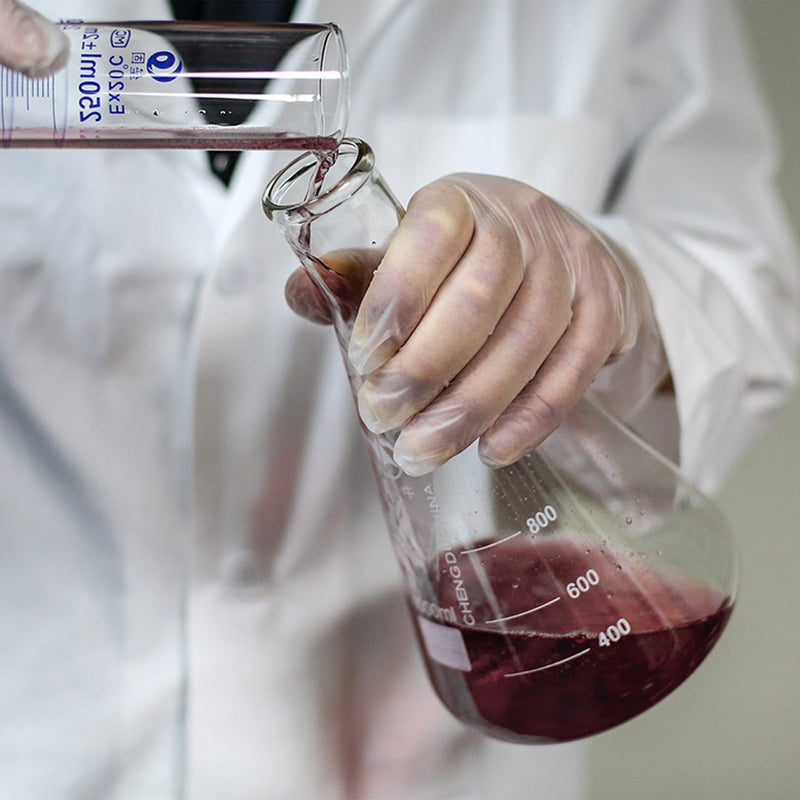 Lab Technician in Clear Vinyl Gloves Transferring Liquid From Test Tube to Beaker