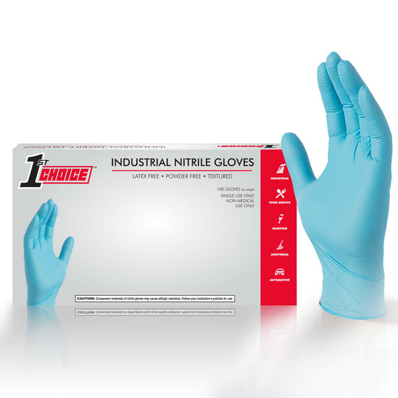 1st Choice 3 Mil Blue Industrial Nitrile Disposable Gloves (Box of 100)