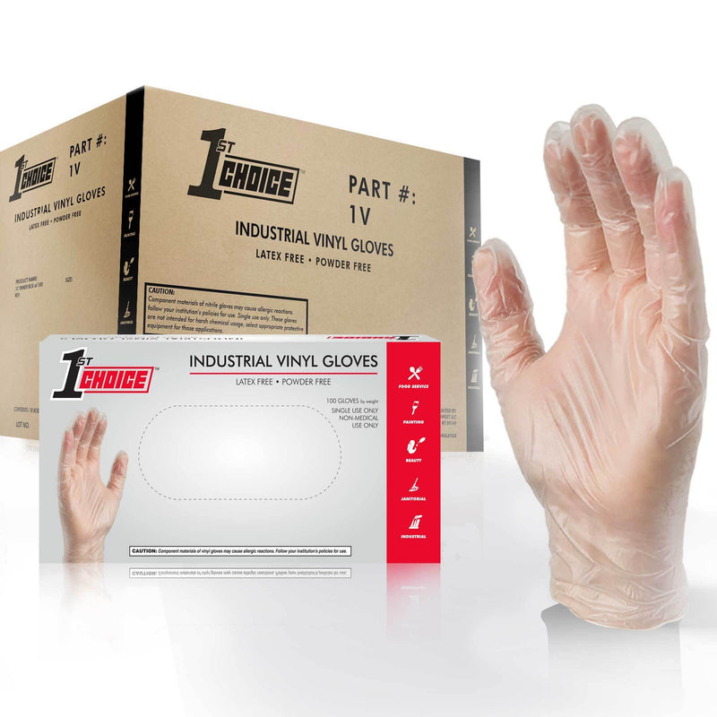 1st Choice 1V - Industrial Clear Vinyl Disposable Gloves, 3 Mil, Latex Free, Powder Free, Textured, Non-Sterile