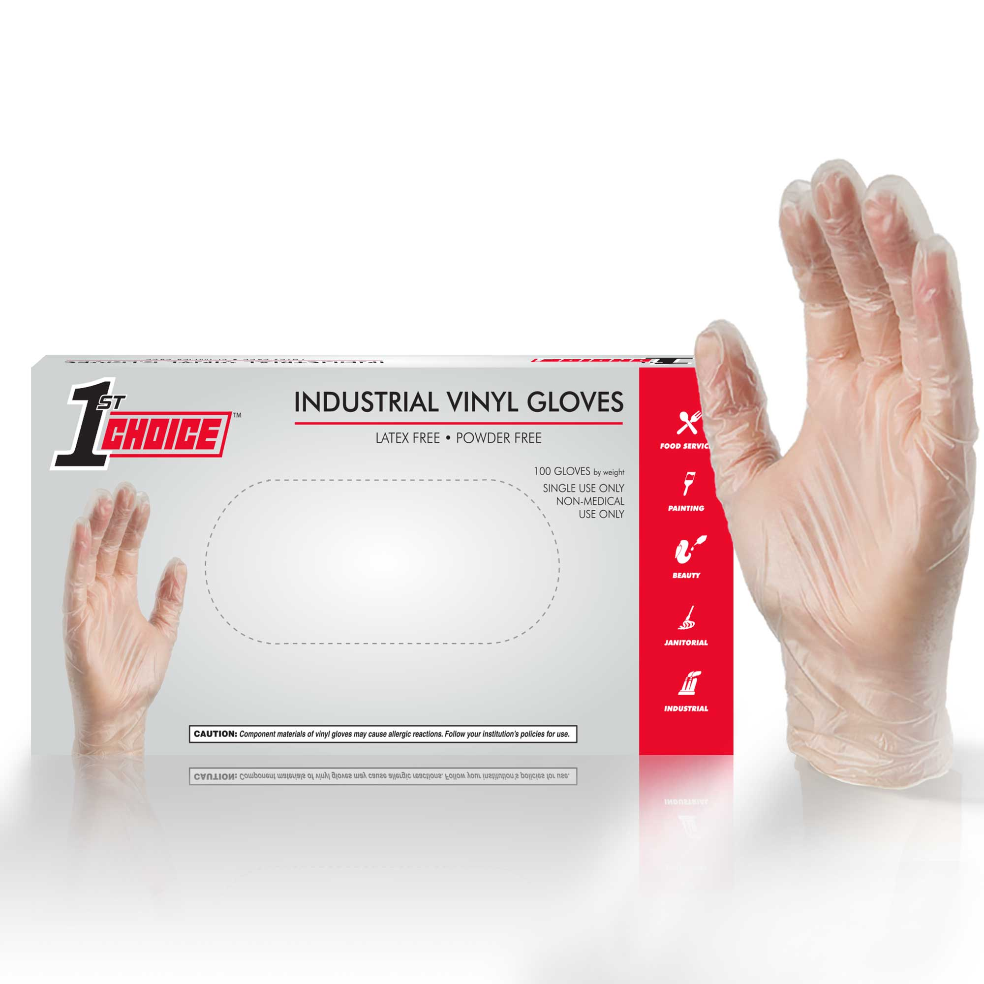 1st Choice 3 Mil Clear Industrial Vinyl Disposable Gloves (Box of 100)