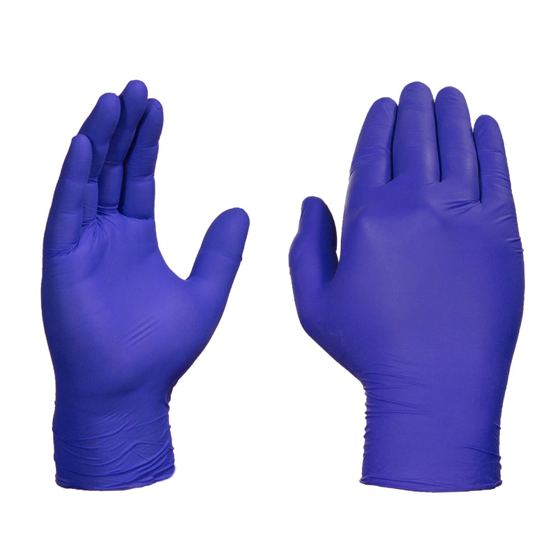 Front and Back of Hands Modeling Indigo Nitrile Exam Gloves