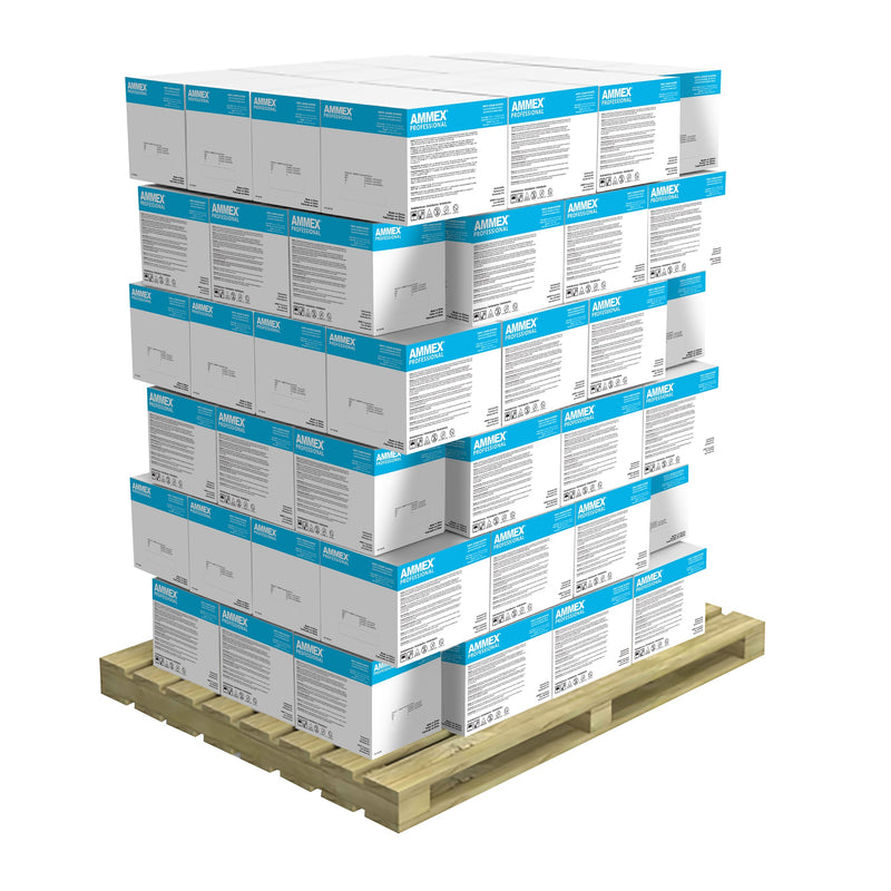 Stack of 90 Cases of VPF Clear Vinyl 3 Mil Exam Gloves on a Pallet