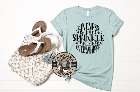 Sprinkle Kindness Everywhere blue t-shirt