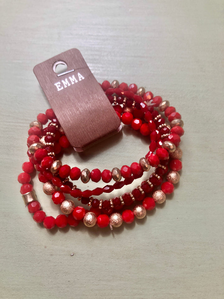 Sale Red Layered Beaded Bracelet