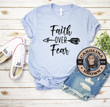 blue faith over fear t-shirt