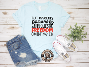 Ice Blue T-Shirt Fireworks BBQS & Freedom