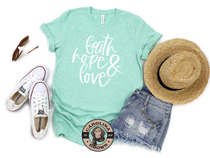 Faith Hope & Love mint t-shirt
