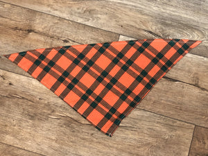 Personalized Orange Plaid Bandana