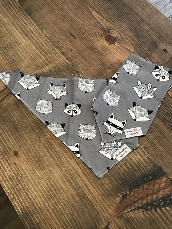 Black/White Fox Dog Bandana