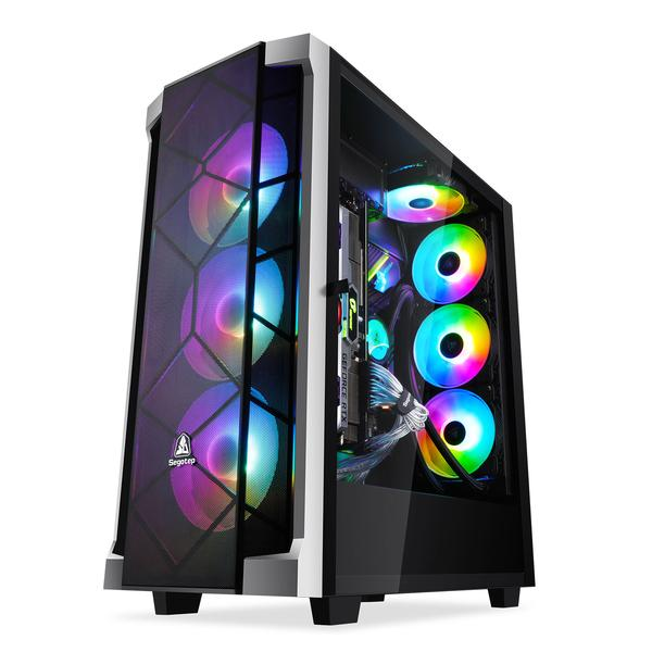 Segotep Phoenix T1 ATX FULL Tower Gaming CASE GPU Vertical Mounting with Tempered Glass&Mesh Front Panel