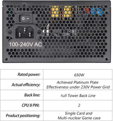 Segotep 650W Power Supply 80 Plus Gold Certified PSU