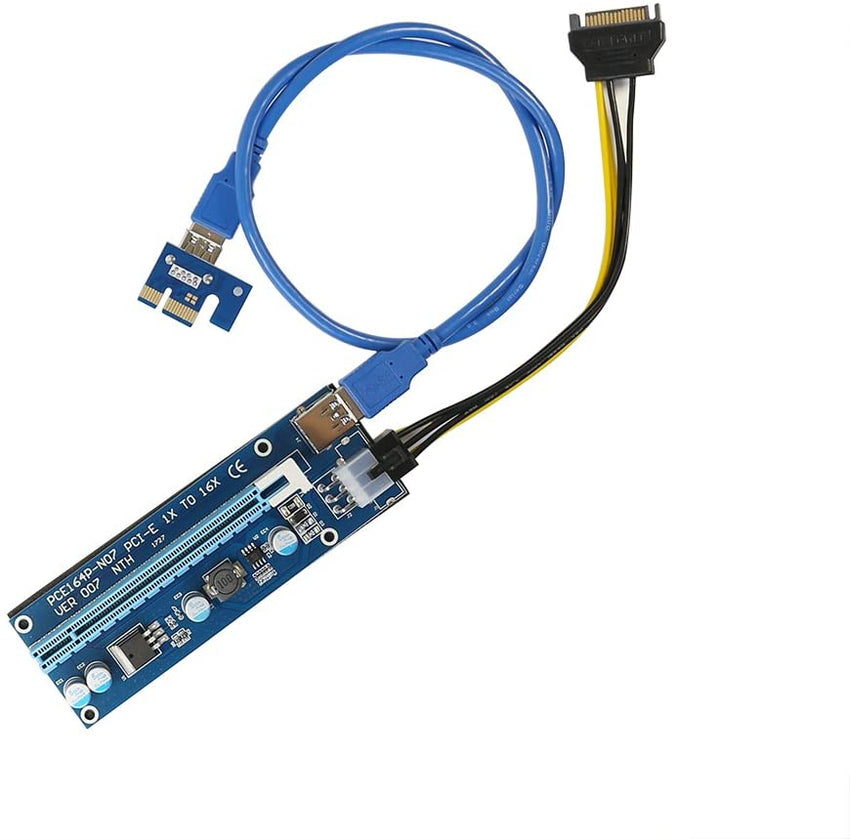 Mining Dedicated PCIe USB Riser Cable Card Adapter Cryptocurrency PCI Express 1X to 16X Extender Mining Rig 60cm USB 3.0 6Pin Power GPU Riser Adapter