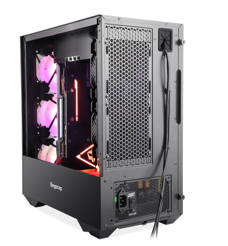 Segotep Phoenix G5 Gaming Computer PC Case Horizontal Airflow ATX/M-ATX/ITX Tempered Glass Side Panel Black