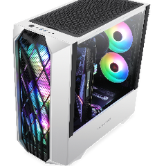 Segotep Phoenix G5 Gaming Computer PC Case Horizontal Airflow ATX/M-ATX/ITX Tempered Glass Side Panel White