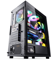 Segotep Gank 5 Gaming Computer case Support ATX, Micro-ATX, Mini-ITX Mid Case.Tempered Glass Side Panel, ATX Mid Tower, PC Case Black