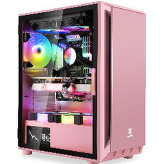 Segotep Gank 5 Gaming Computer case Support ATX, Micro-ATX, Mini-ITX Mid Case.Tempered Glass Side Panel, ATX Mid Tower, PC Case Pink