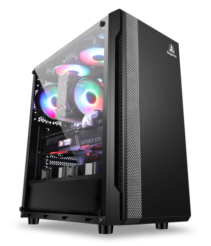 Segotep Prime XT Mid Tower Black Gaming Computer ATX Case with Magnetic Dust Filter Support 240 mm Liquid Cooling, Clear Acrylic Side Plate