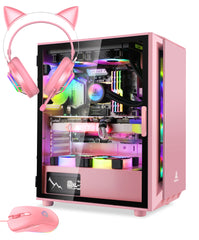 Segotep Gaming Case with Headset Gaming Mouse Combo Pink ATX Micro-ATX, MINI-ITX Mid Case USB3.0 Port, 1.0mm SPCC Steel Plate, Support Liquid Cooling Tempered Glass Side