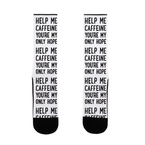 Help Me Caffeine You're My Only Hope US Size 7-13 Socks by LookHUMAN