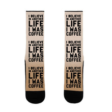 Load image into Gallery viewer, I Believe In Another Life I Was Coffee US Size 7-13 Socks by LookHUMAN