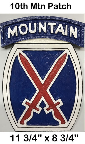 10th Mountain Patch Carving