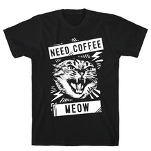 Load image into Gallery viewer, Need Coffee Meow Black Unisex Cotton Tee by LookHUMAN