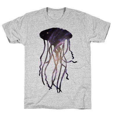 Galactic Jellyfish Athletic Gray Unisex Cotton Tee by LookHUMAN