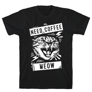 Need Coffee Meow Black Unisex Cotton Tee by LookHUMAN