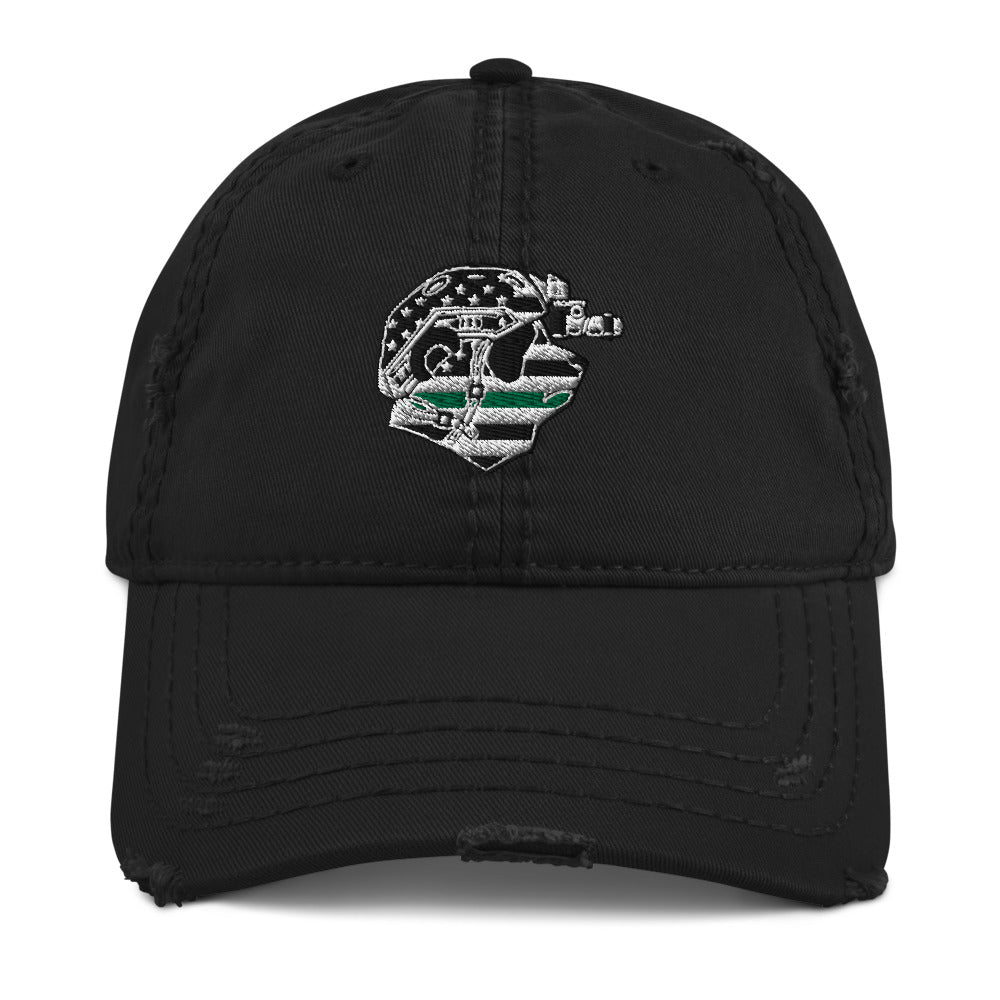 Thin Green Line Distressed Dad Hat
