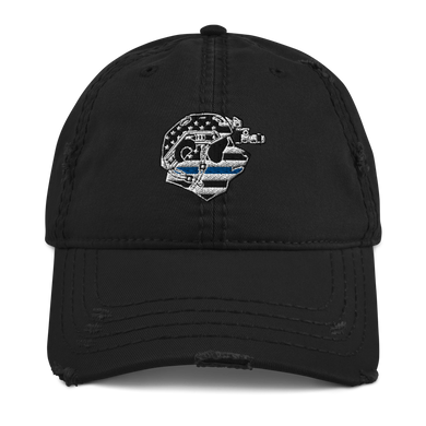 Thin Blue Line Panda Distressed Dad Hat