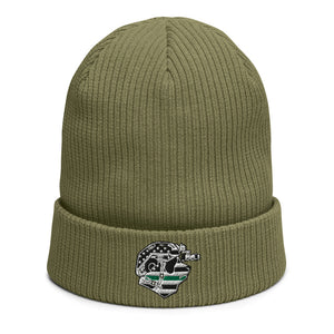 Thin Green Line Panda Organic ribbed beanie