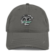 Load image into Gallery viewer, Thin Green Line Distressed Dad Hat