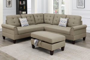 3-PC SECTIONAL W/2 ACCENT PILLOW (OTTOMAN INCLUDED) F6476