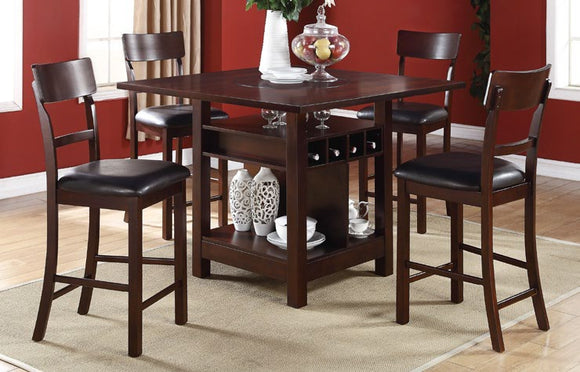 5-Pcs Counter Height Table w/Lazy Susan+4 Chairs F2347/F1207