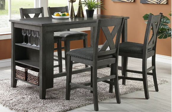 5-Pcs Counter Height Dining Set Table+ 4 Chairs F2488/F1789