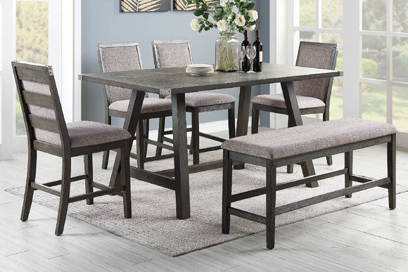 6-Pcs Dining Set Table+4 Chairs+Bench F2495/F1803/F1804
