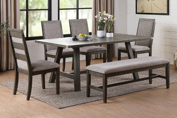 6-Pcs Dining Set Table+4 Chairs+Bench F2494/F1801/F1802