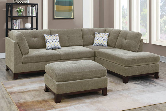3-PC SECTIONAL W/2 ACCENT PILLOW (OTTOMAN INCLUDED) F6478