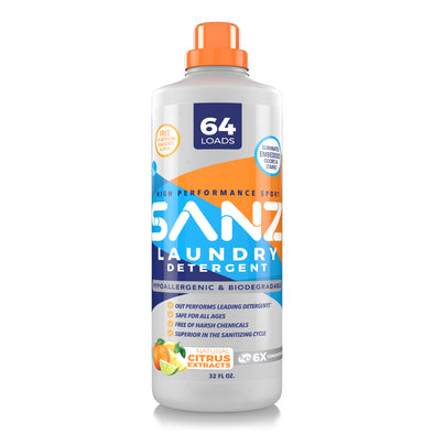 SANZ High Performance Liquid Detergent, Superior for Sanitizing Wash Cycles, 64 Loads