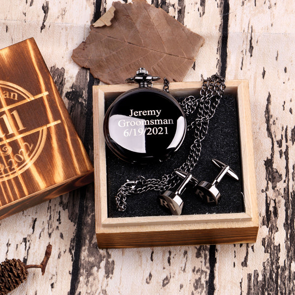 Groomsmen Gifts Set Black Pocket Watch + Cufflinks