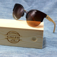 Womens Cat Eye Wood Sunglasses with custom engraving - uvcea