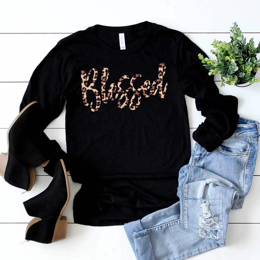 Blessed Leopard Long Sleeve Tee