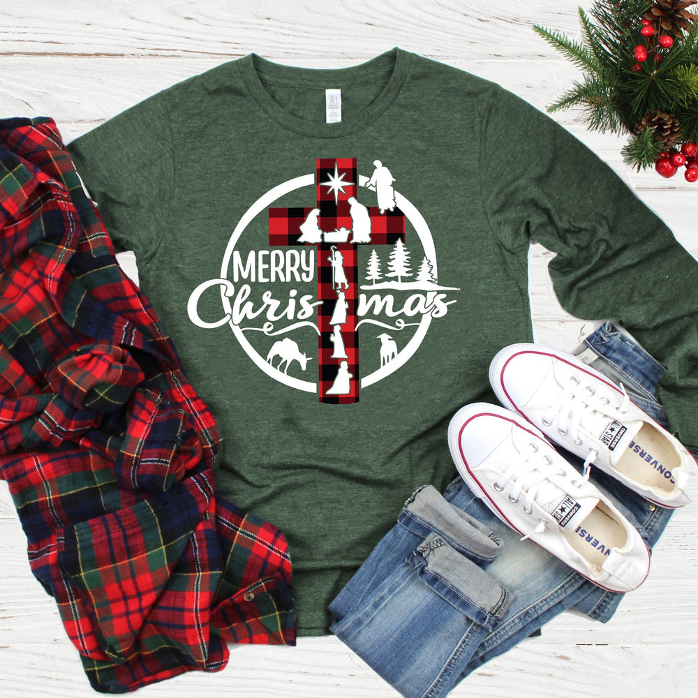Nativity Christmas Cross Long Sleeve Tee