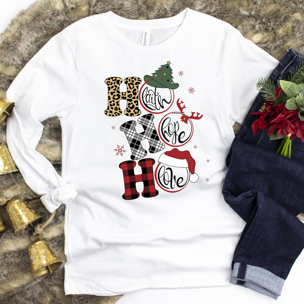 Faith Hope Love Christmas Long Sleeve Tee