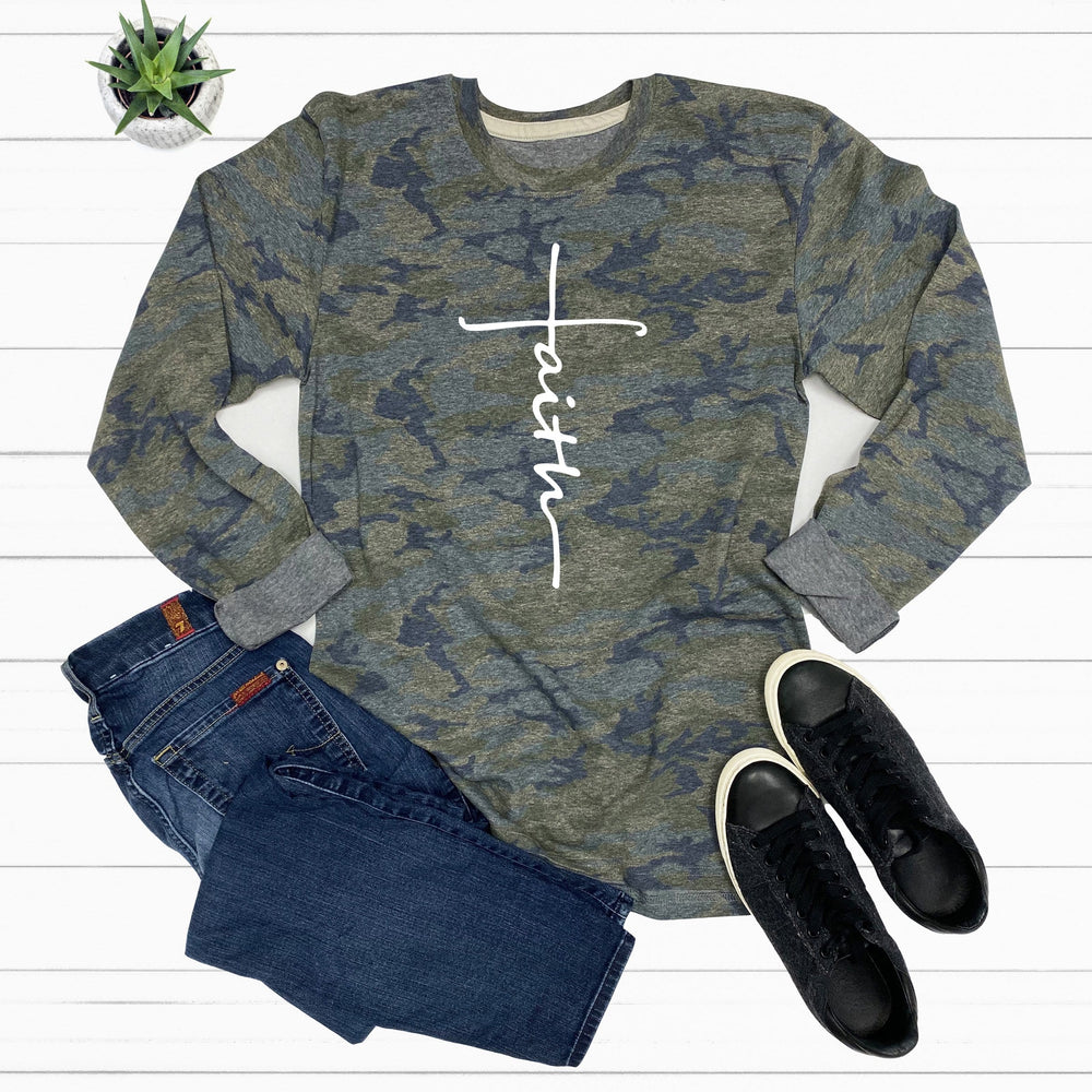 Faith Cross Camo Long Sleeve Tee