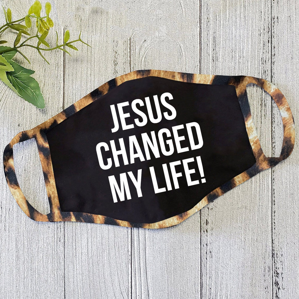 Jesus Changed My Life Black Mask With Leopard Trim