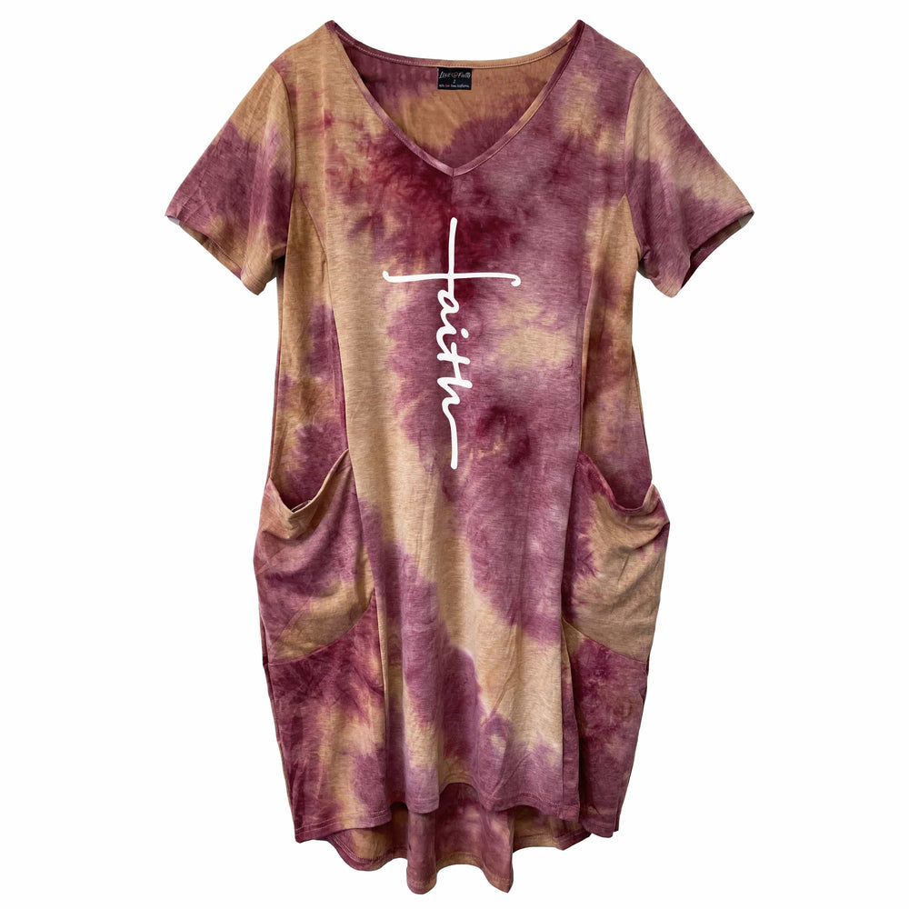 NEW Embroidered Faith Cross Tie Dye Dress
