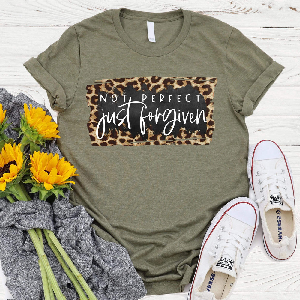 Not Perfect Just Forgiven Leopard Tee
